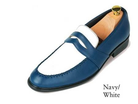 Navy Blue and White shoes for men