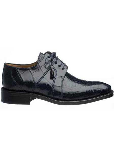 Navy Genuine Full Alligator Mens Lace Up Shoes