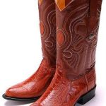 New Ostrich Leg Cognac Brown Los Altos Mens Cowboy Boots Western Riding Style