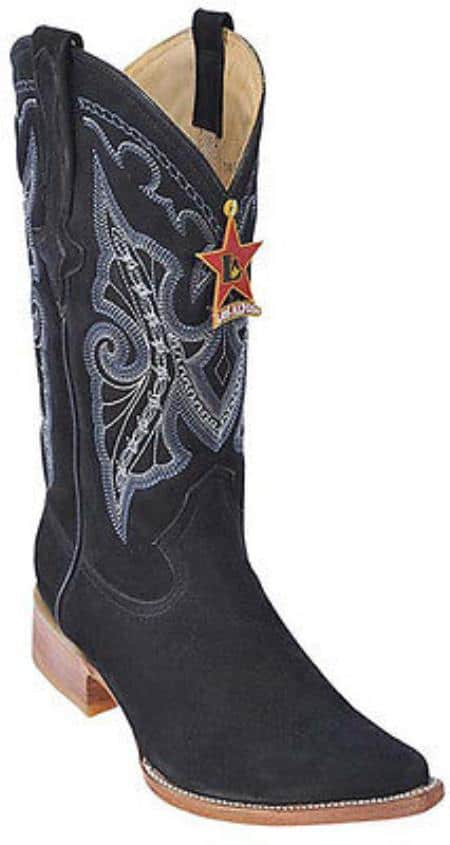 Nubuck Black Los Altos Mens Cowboy Boots Western Classics Riding