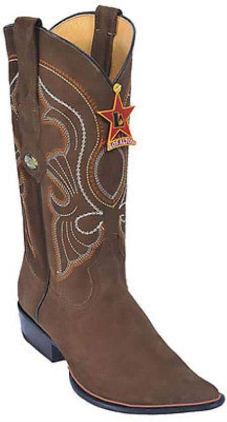 Nubuck Brown Vintage Los Altos Mens Cowboy Boots Western Riding