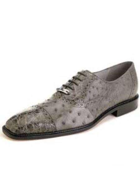 Onesto Belvedere Oxford Genuine Ostrich / Crocodile Exotic Dress Shoes - Leather Sole Cusioned Insoles Lambskin Leather Lining in Grey / Gray