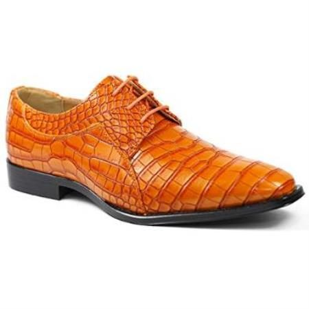 Orange Alligator Exotic Crocodile Print skin Lace up Oxford