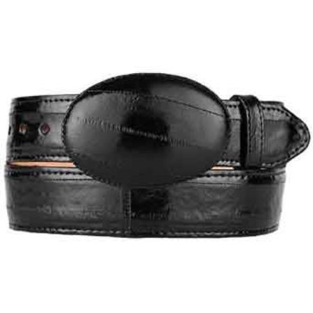 Original black eel skin western style belt