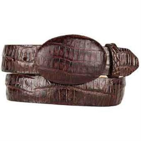 Original brown caiman belly skin western style belt