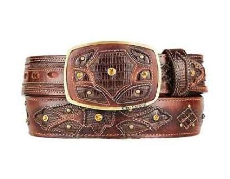 Original brown lizard teju skin fashion western belt