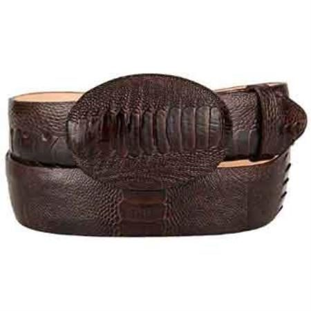 Original brown ostrich leg skin western style belt