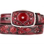 Original burgundy eel skin fashion western belt