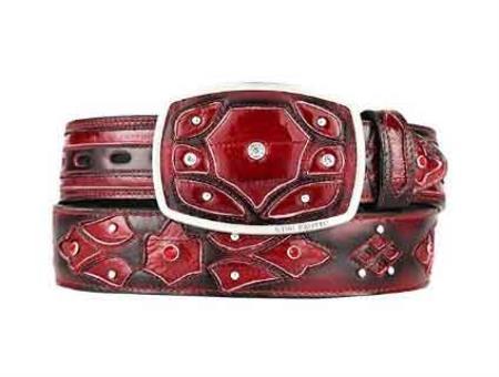Original burgundy eel skin fashion western belt