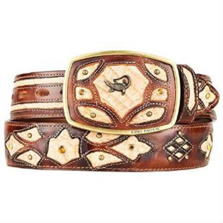 Original caiman belly skin western hand crafted belt burnished oryx