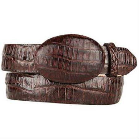 Original caiman belly skin western style brown belt