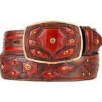 Original eel skin cognac fashion western belt