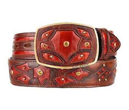 Original eel skin cognac fashion western belt