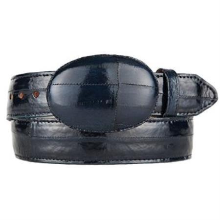 Original eel skin western style belt navy blue