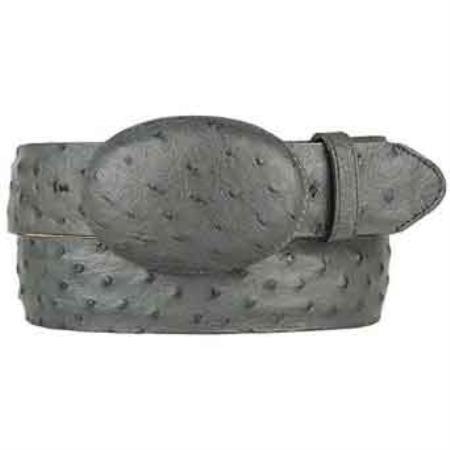 Original gray ostrich full quill skin western style belt