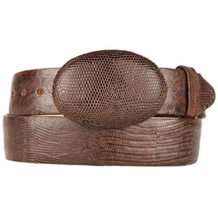 Original lizard teju skin brown western style belt