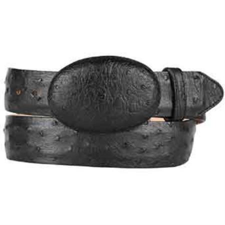 Original ostrich full quill skin western style belt black