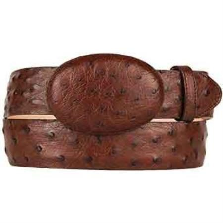 Original ostrich full quill skin western style belt brown
