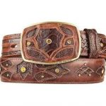 Original ostrich leg skin brown fashion western belt