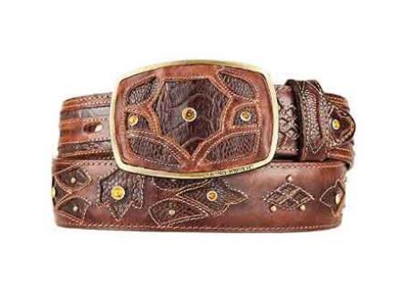 Original ostrich leg skin brown fashion western belt