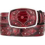 Original ostrich leg skin fashion western belt burgundy