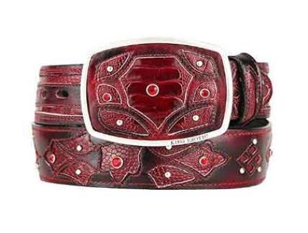 Original ostrich leg skin fashion western belt burgundy