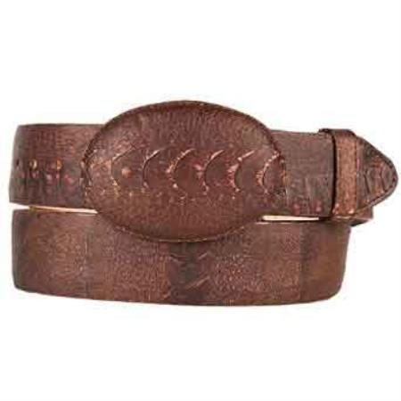Original ostrich leg skin western style belt brown