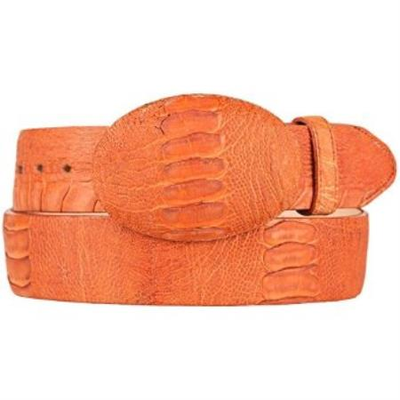 Original ostrich leg skin western style belt cognac