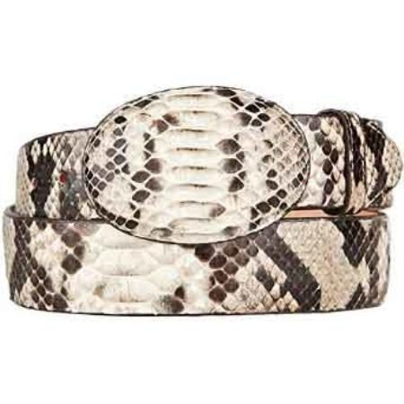 Original python skin western style belt natural