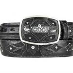 Original stingray skin black fashion western belt