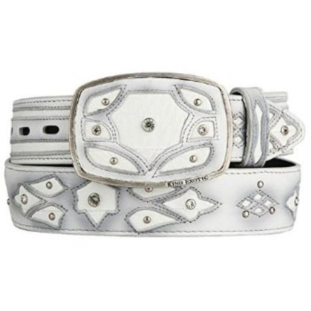 Original white eel skin fashion western belt