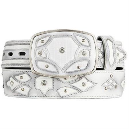 Original white lizard teju skin fashion western belt