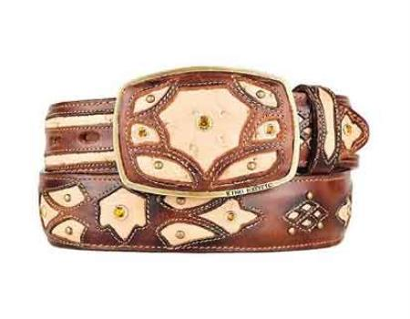 Oryx burnished original ostrich full quill skin fashion western belt