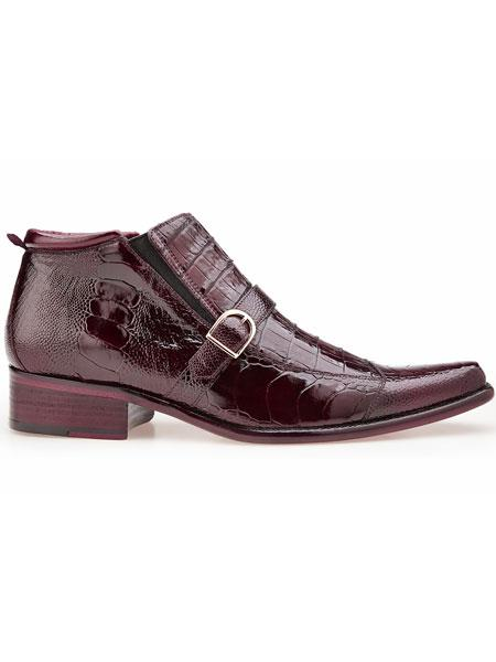 Ostrich And Crocodile Antique Dark Burgundy Single Strap Boots