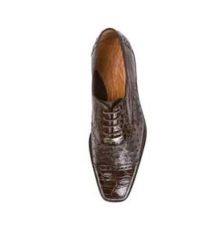 Ostrich Crocodile Shoes Lambskin Lining Cushioned Insoles in Brown