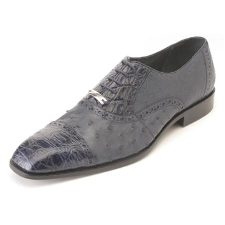 Ostrich Crocodile Shoes with Lambskin Lining Cushioned Insoles in Navy