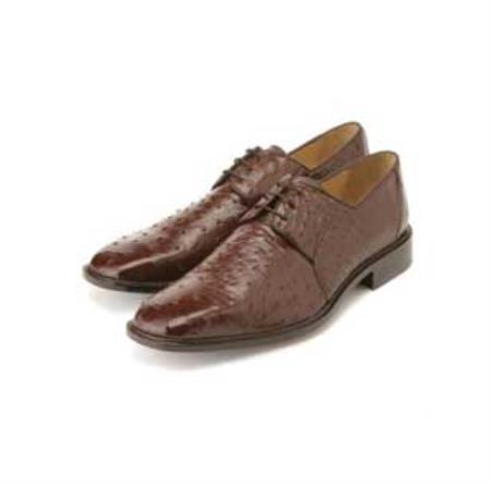 Ostrich Dress Shoes with Lambskin Lining Cushioned Insoles in Brown