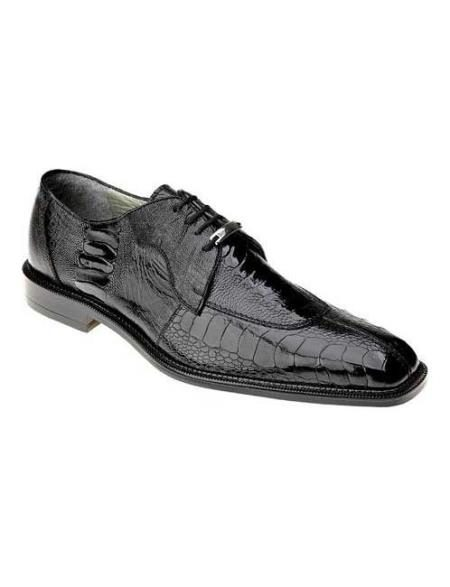 Ostrich / Eel and Stingray Exotic Dress Shoes in Black
