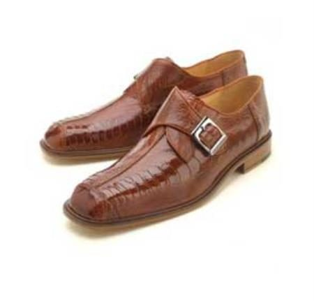 Ostrich / Leather Single Monk Strap with Leather Sole in Brandy