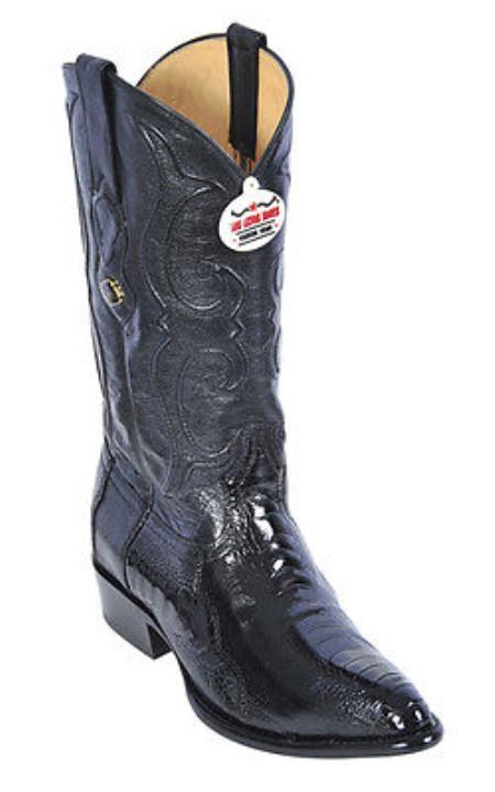 Ostrich Leg Black Los Altos Mens Cowboy Boots Western Classics Riding Style