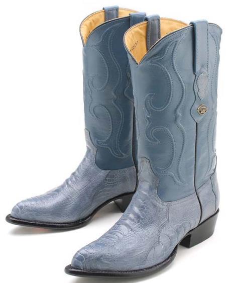 Ostrich Leg Blue Jean Los Altos Mens Cowboy Boots Western Classics Rider Style