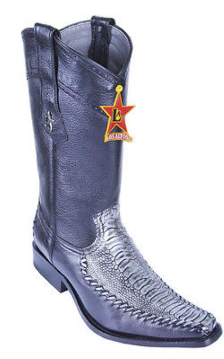 Ostrich Leg Blue Los Altos Mens Cowboy Boots Western Classics Riding Style