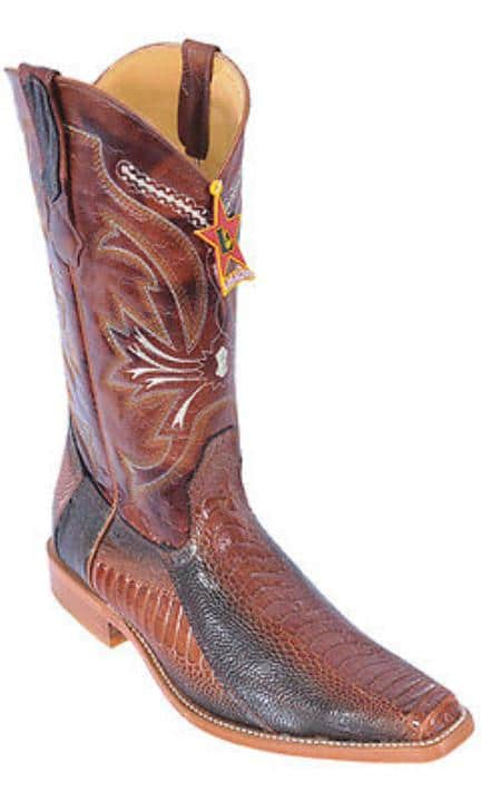 Ostrich Leg Cognac Brown Color Los Altos Mens Cowboy Boots Vintage Wear Riding