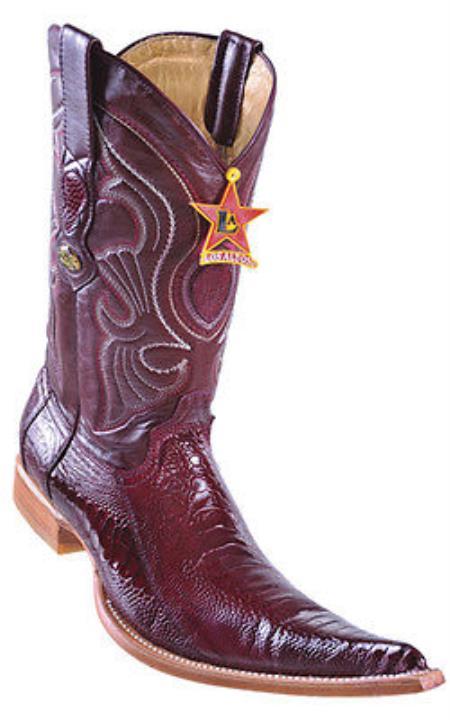 Ostrich Leg Handmade Burgundy Los Altos Mens Cowboy Boots Western Classics