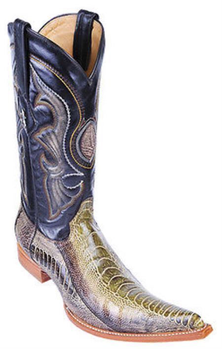 Ostrich Leg Handmade Rustic Green Los Altos Mens Cowboy Boots Western Classics