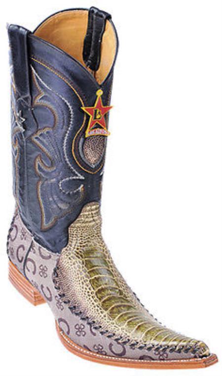 Ostrich Leg Handmade Rustic Green Los Altos Mens Cowboy Fashion Boots Western