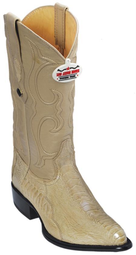 Ostrich Leg Leather Beige Los Altos Men Cowboy Boots Western Fashion Rider Style