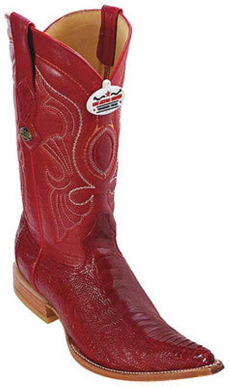 f51c319c8a8 Ostrich Leg Leather Red Los Altos Mens Western Boots Cowboy Style Rider 3x  Toe
