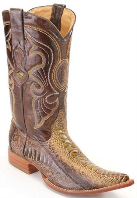 Ostrich Leg Leather Rustic Green Los Altos Mens Cowboy Boots Western Wear Riding