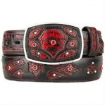 Ostrich leg skin fashion western hand crafted belt black cherry